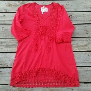 Johnny Was Tunic Bright Red Sz Medium read